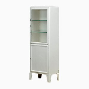 Vintage Iron & Glass Medical Cabinet, 1950s