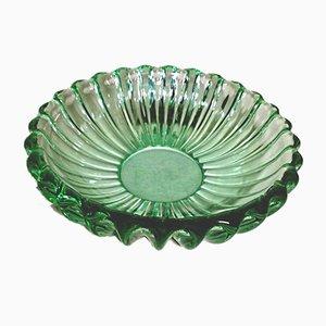 Französische Art Deco Schale aus grünem Glas im Stil von Pierre D'avesn