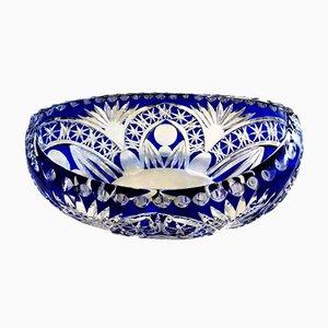 Bohemia Biedermeier Style Blue Crystal Bowl