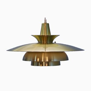 Extra Large Danish Brass Hanging Lamp, 1970s