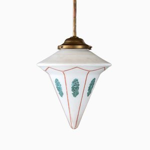 Large Antique Art Déco Rod Pendant Lamp in Milk Glass with Spray Decoration, 1920s