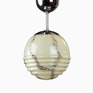 Kleine Art Déco Deckenlampe aus marmoriertem Glas, 1930er
