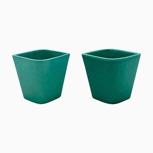 Jarrones italianos pequeños de cerámica verde de Gio Ponti para Ginori, años 30. Juego de 2