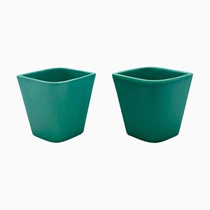 Small Italian Green Ceramic Vases by Gio Ponti for Ginori, 1930s, Set of 2