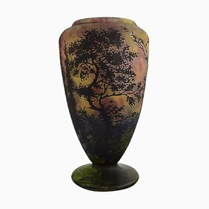 Large Vase in Mouth Blown Art Glass by Daum Nancy, France
