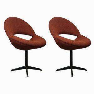 Dunkelorange Bucket Chairs, 1960er, 2er Set
