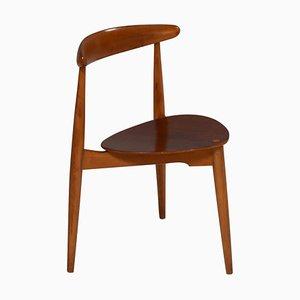 Beech & Teak FH4103 Heart Dining Chair by Hans J. Wegner for Fritz Hansen