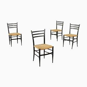 Italian Ebony Beech & Rope Dining Chairs, 1960s, Set of 4