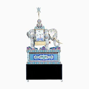 Large Early 20th Century Chinese Cloisonne Enamel Elephant on Stand