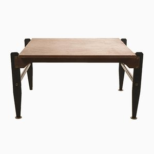 Vintage Coffee Table in Walnut with Varnished Legs & Metal Parts, 1960s