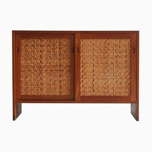 Mueble danés moderno de teca y ratán de Hans J. Wegner para Ry Mobler, años 60