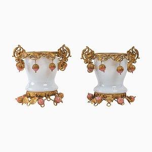 Opaline and Gilt Brass Goblets, Set of 2