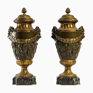 Patinated and Gilt Bronze Cassolettes, Set of 2