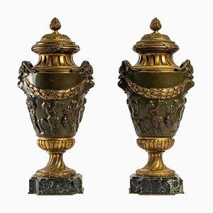 Patinierte und vergoldete Bronze Cassolettes, 2er Set