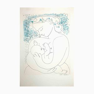 Desconocido, madre e hijo-Litografía original sobre papel verjurado, Pablo Picasso, 1963