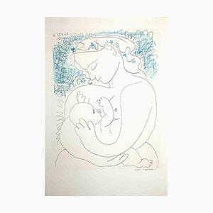 Unbekannt, Mutter und Kind-Original Lithografie auf Laid Paper, Pablo Picasso, 1963