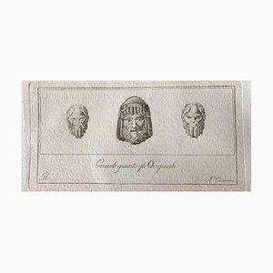 Aguafuerte, varios antiguos maestros, cabezas humanas, finales del siglo XVIII