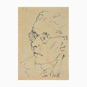 Georges Vernotte, retrato, dibujo a pluma, 1950