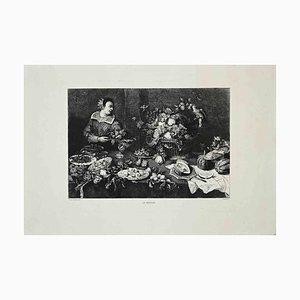 Grabado Gustave Greux d'Après Snyders, The Grocer, 1870