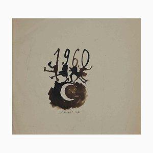 Mino Maccari, Happy 1960, Aquarelle sur Papier, 1960