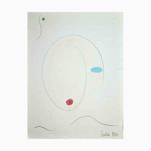 Composition au Crayon de Couleur par Badino, 1970