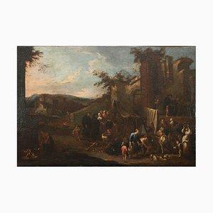 Pietro Domenico Olivero, escena de mercado, óleo sobre lienzo, siglo XVIII