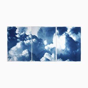 Dense Rolling Clouds, Blue Sky Landscape Triptych, Handmade Cyanotype on Paper, 2021