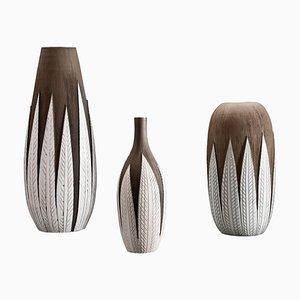 Jarrones Paprika de cerámica de Anna-Lisa Thomson para Upsala Ekeby. Juego de 3