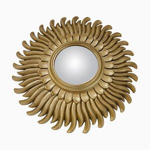 Espejo Mid-Century en forma de sol dorado, años 60