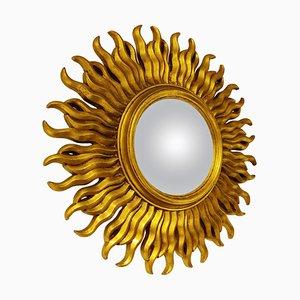 Espejo Mid-Century en forma de sol dorado