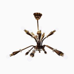 Lámpara de araña Mid-Century de cobre, años 50