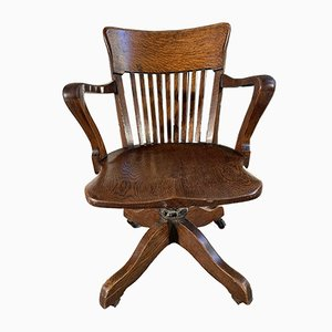 Antique Oak Captain's Desk Chair from WM Angus and Co
