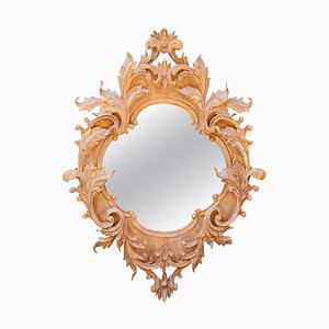 Neoclassical Style Gold Leaf & Hand Carved Wood Mirror with Acanthus Leaf Decoration, 1970s