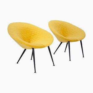 Mid-Century Italian Yellow Velvet Armchairs, 1950s, Set of 2