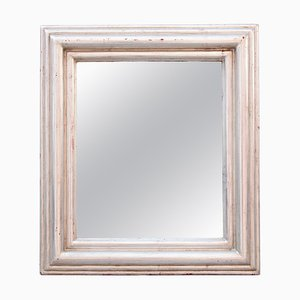 Rechteckiger neoklassizistischer Regency Spiegel aus Silber & handgeschnitztem Holz