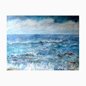 Penny Rumble, Ascolto del suono del mare, pittura ad olio contemporanea, 2017