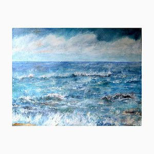 Penny Rumble Listen to the Sound of the Sea, Contemporary Seascape Oil Painting, 2017