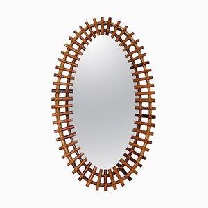 Specchio da parete ovale Mid-Century con cornice in bambù, Italia, anni '60