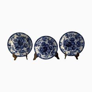 Juego de tres platos victorianos de porcelana Wedgwood, Water Nymph, 1800