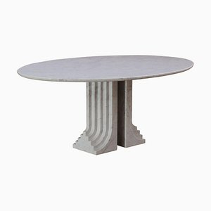 Samo Oval Table by Carlo Scarpa for Simon Gavina in White Carrara Marble, 1971