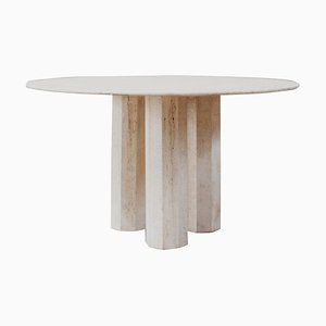 Sculptural Dining Table in Travertine, Italy, 1975