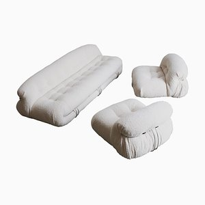 Soriana Bouclé Wool Living Room Set by Afra & Tobia Scarpa for Cassina, 1969, Set of 3