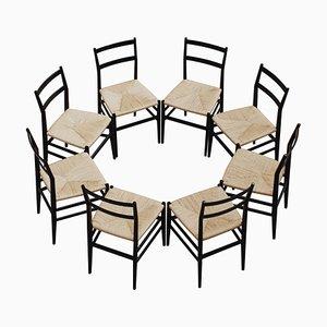 Sedie da pranzo 646 Leggera di Gio Ponti per Cassina, 1952, set di 8