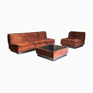 Suedé Living Room by Vittorio Introin for Saporiti, Italy, 1974, Set of 3
