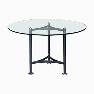 Dominioni Glass Round Table by Luigi Caccia for Azucena, 1970