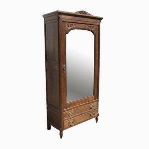 Armadio Art Déco in legno massiccio con specchio