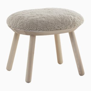 Naïve Ottoman with Natural Oiled Ash Frame & Sheep Skin from Emko