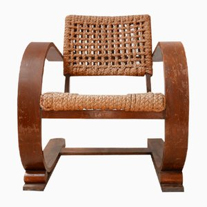Mid-Century French Bentwood and Rope Armchair by Adrien Audoux & Frida Minet