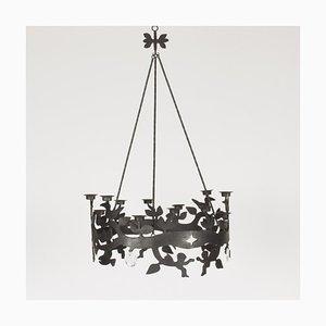 Iron & Glass Chandelier by Bertil Vallien for Boda Smide, 1960s