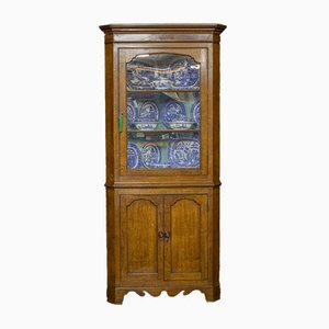 Alacena esquinera de roble de principios del siglo XIX